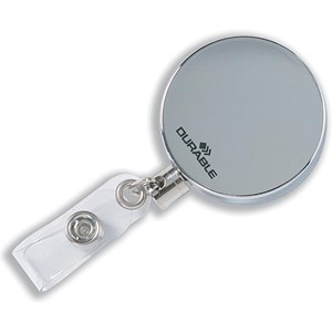 Image of Durable Badge Reel with Belt Clip & Retractable Cord / Chrome / Pack of 10