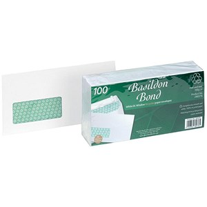 Image of Basildon Bond Recycled DL Envelopes / Window / White / Peel & Seal / 120gsm / Pack of 100