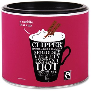 Image of Clipper Fairtrade Hot Chocolate - 1kg Tin