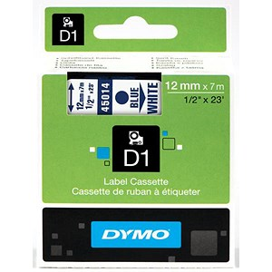 Image of Dymo D1 Tape for Electronic Labelmakers 12mmx7m Blue on White Ref 45014 S0720540