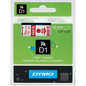 Image of Dymo D1 Tape for Electronic Labelmakers 12mmx7m Red on White Ref 45015 S0720550