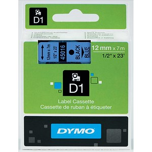 Image of Dymo D1 Tape for Electronic Labelmakers 12mmx7m Black on Blue Ref 45016 S0720560