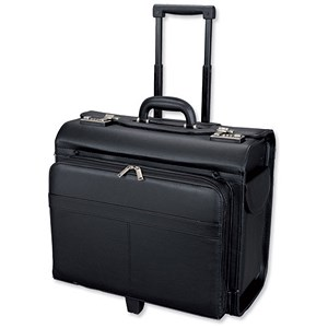 Image of Alassio San Remo Trolley Pilot Case / Multi-section / 2 Combination Locks / Leather-look / Black