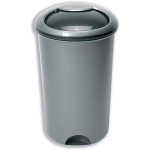 Image of Bin with Rotating Lid & Footplate / 50 Litre / Metallic