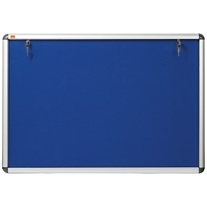 Image of Nobo Display Cabinet Noticeboard / Lockable / A1 / W907xH661mm / Blue