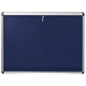 Image of Nobo Display Cabinet Noticeboard / Lockable / A0 / W1255xH965mm / Blue