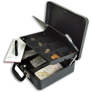 Image of Petty Cash Box with Organiser Coin Tray 8 Part and Note Section 3 Part