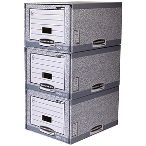 Image of Fellowes Bankers Box System Storage Drawers / Stackable / Grey & White / Pack of 5