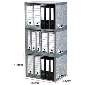 Image of Fellowes Bankers Box System Archive Stax File Store Units / Stackable / Pack of 5