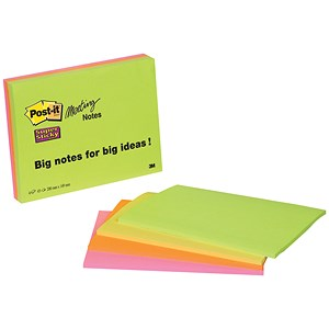 Image of Post-it Super Sticky Meeting Notes / 200x149mm / Bright Colours / Pack of 4 of 45 Notes