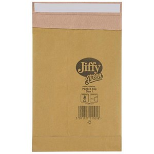 Image of Jiffy No.1 Padded Bag Envelopes / 165x280mm / Brown / Pack of 10