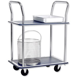Image of 5 Star 2 Shelf Trolley / Steel Frame / Capacity 120kg / Chrome