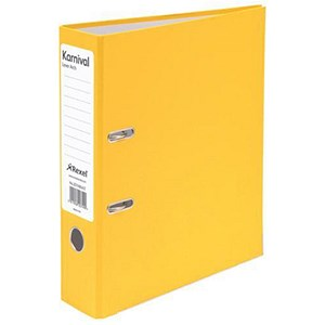 Image of Rexel Karnival A4 Lever Arch Files / Board / Slotted Covers / 70mm Spine / Yellow / Pack of 10