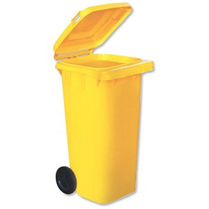 Image of Wheelie Bin with Rear Wheels / 120 Litre / Yellow