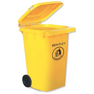 Image of Wheelie Bin with Rear Wheels / 240 Litre / Yellow