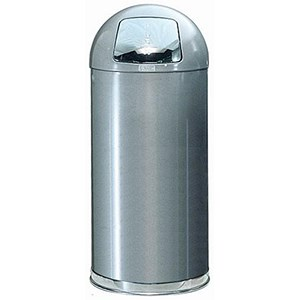 Image of Rubbermaid EasyPush Bin Fire-safe Self-closing 56 Litres D381xH915mm Stainless Steel Ref FGR1536SMGL