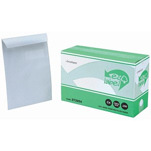 Image of 5 Star Eco C4 Wallet Envelopes with Window / White / Press Seal / 100gsm / Pack of 250