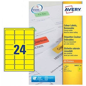 Image of Avery Coloured Laser Labels / 24 per Sheet / 63.5x33.9mm / Yellow / L6035-20 / 480 Labels