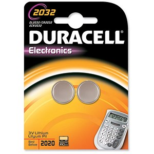 Image of Duracell DL2032 Lithium Battery for Camera Calculator or Pager / 3V / Pack of 2
