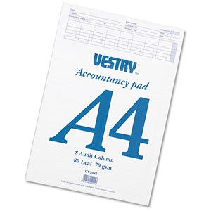 Image of Vestry Accountants Pad / 8 Audit Columns / 80 Leaf / Ref: CV2092