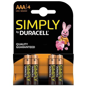 Image of Duracell MN2400 Simply Battery / AAA / Pack of 4