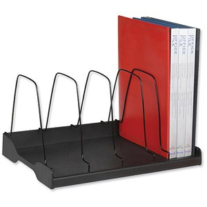 Image of Adjustable Book Rack with 6 Wire Dividers / W388xD275xH220mm / Black