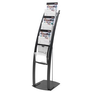 Image of Floorstanding Literature Display / 6 x A4 Pockets / Black