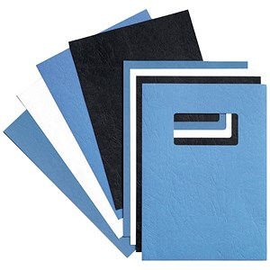 Image of GBC Leatherboard Binding Covers with Window / 250gsm / A4 / Blue / Pack of 25x2