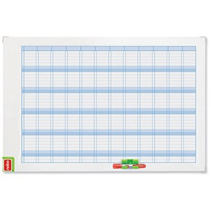 Image of Nobo Performance Planning Magnetic Drywipe Board / Annual Grid / W900xH600mm