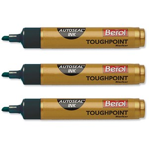 Image of Berol Autoseal Toughpoint Permanent Marker / Chisel Tip / Black / Pack of 12