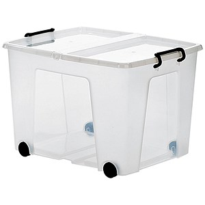Image of Strata Smart Box / Clip-on Folding Lid / Carry Handles / Clear / 75 Litre