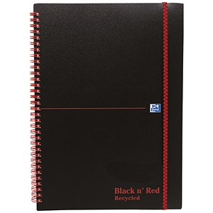Image of Black n' Red Recycled Wirebound Polypropylene Notebook / A5 / 140 Pages / Pack of 5
