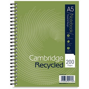 Image of Oxford npad Recycled Wirebound Notebook / A5 / Ruled with Margin / 200 Pages / Green / Pack of 3