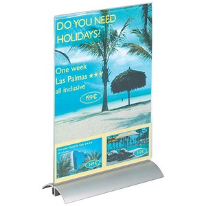 Image of Durable Presenter Sign & Literature Holder / Desktop / Acrylic with Metal Base / A4 / Clear
