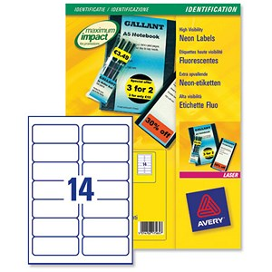 Image of Avery Promotional Laser Labels / 99.1x38.1mm / Fluorescent Yellow / L7263-25 / 350 Labels