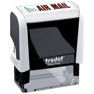 "Image of Trodat Office Printy Self-inking Stamp / ""Airmail"" / Reinkable / Red & Blue"