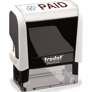 "Image of Trodat Office Printy Self-inking Stamp / ""Paid"" / Reinkable / Red & Blue"