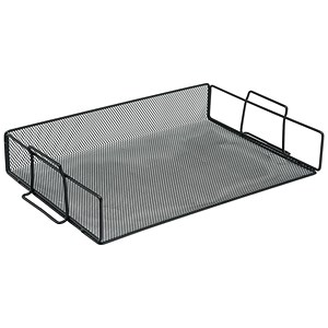 Image of Scratch-resistant Mesh Letter Tray / Stackable / Front-load / Landscape Foolscap / Black