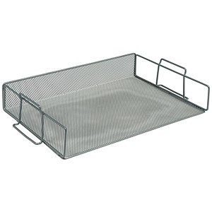 Image of Scratch-resistant Mesh Letter Tray / Stackable / Front-load / Landscape Foolscap / Silver