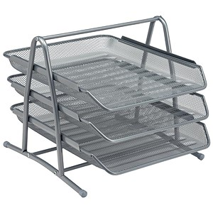 Image of Scratch-resistant 3-Tier Mesh Letter Tray / Stackable / Front-load / Portrait Foolscap / Silver