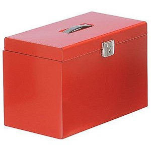 Image of Metal File Box with 5 Foolscap Suspension Files, Tabs & Inserts / Red