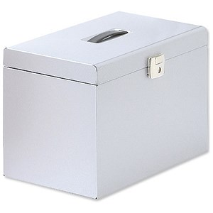 Image of Metal File Box with 5 Foolscap Suspension Files, Tabs & Inserts - Silver
