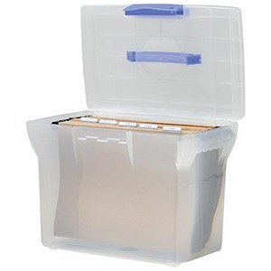 Image of A4 Plastic File Box - Clear With White Lid