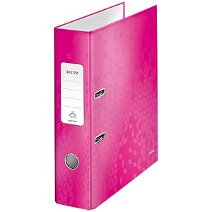 Image of Leitz WOW A4 Lever Arch Files / 80mm Spine / Pink / Pack of 10