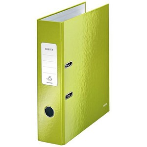 Image of Leitz WOW A4 Lever Arch Files / 80mm Spine / Green / Pack of 10
