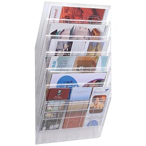 Image of Durable Flexiboxx Literature Holder / Wall-Mountable / 6 Pockets / Landcape / A4 / Clear