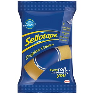 Image of Sellotape Original Golden Tape Rolls - Small / Non-static / Easy-tear / 24mmx33m / Pack of 6