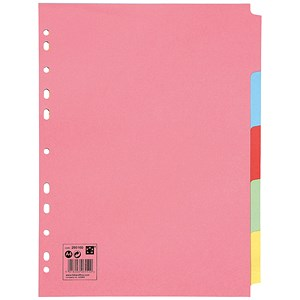 Image of 5 Star Subject Dividers / Multipunched Manilla Board / 5-Part / A4 / Assorted