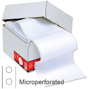 Image of Computer Listing Paper / 1 Part / 12 inch x 235mm / Microperforated / Plain White / 60gsm / Box (2000 Sheets)