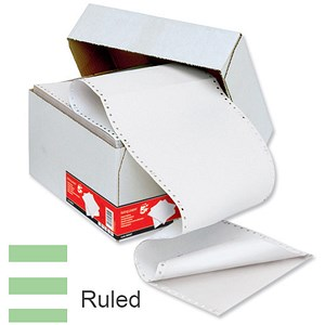 Image of Computer Listing Paper / 2 Part / 11 inch x 368mm / White & Green / Ruled / Box (1000 Sheets)
